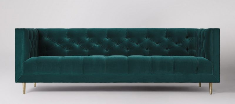 Green velvet chesterfield sofa