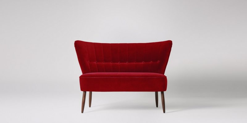 Red velvet sofa. Swoon Editions